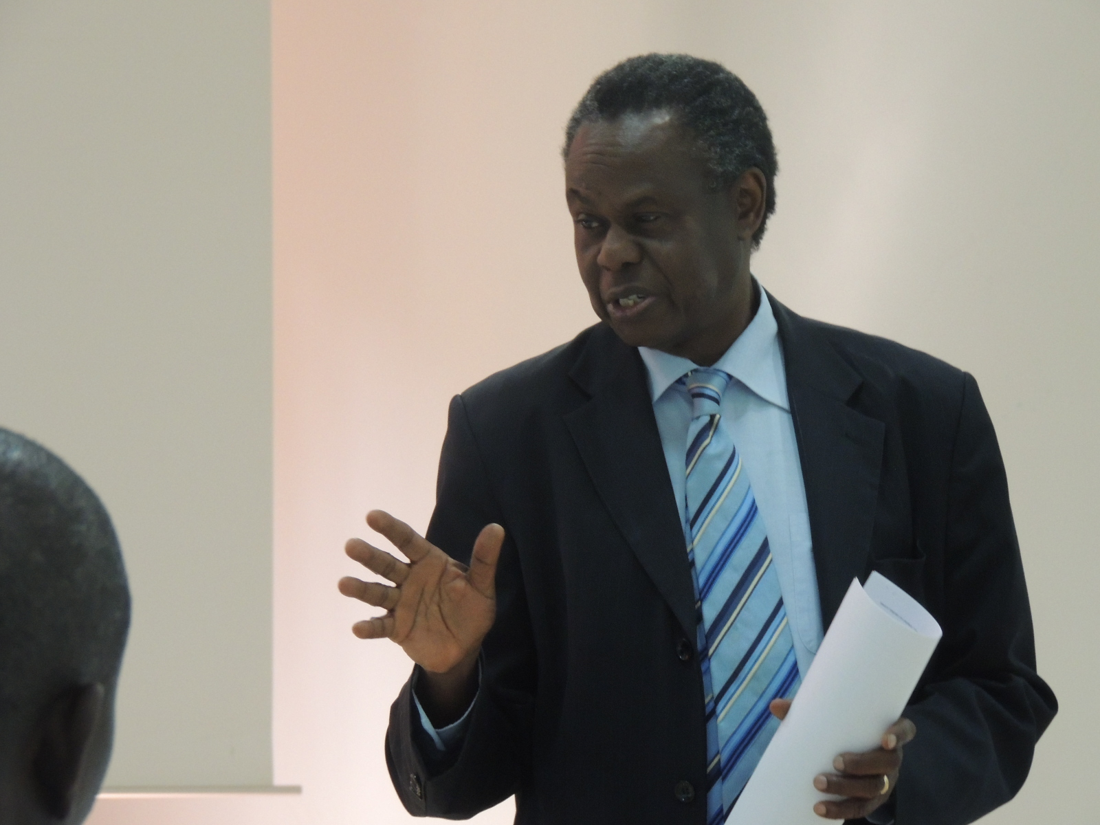 Prof. Francis Omaswa, ACHEST Executive Director speaking at the Theory of Change workshop at Imperial Royal in Kampala