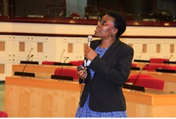 Dr. Elsie Kiguli-Malwadde presenting at the conference in Addis Ababa