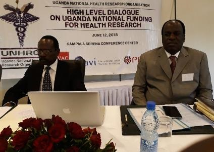 Dr. Sam Okware of UNHRO and Dr. David Okello of ACHEST at the Resource Mobilization workshop in Serena