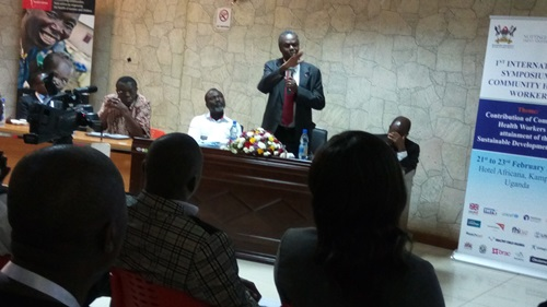 Prof. Francis Omaswa speaking at the 1st International Symposium on Community Health Workers in Kampala
