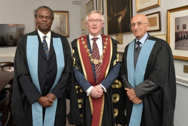 Prof. Francis Omaswa, ACHEST ED, Mr. Declan J. Magee, and President of the RCSI and prof.Krikor Erzingatsian during the award event.